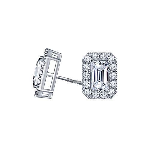 SILVER SEA EMPIRE 1.00 Ct Emerald & Round Cut D/VVS1 Diamond Halo Stud Earrings For Women In Sterling Silver 14K White Gold Plated (1 Carat Emerald Cut Diamond Ring On Hand)