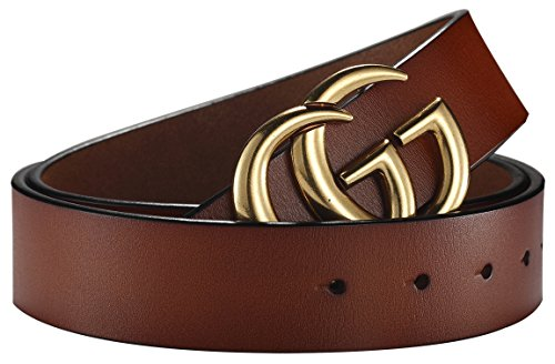 Fashion G-Style Gold Buckle Unisex Belt for Men or Women [3.8cm Belt Width] (110cm (Waist 32''~38'' or Below), Brown) by Amone Ling