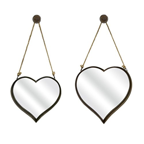 IMAX 87402-2 Heart Shape Wall Mirror, Set of - Mirror Shape Heart
