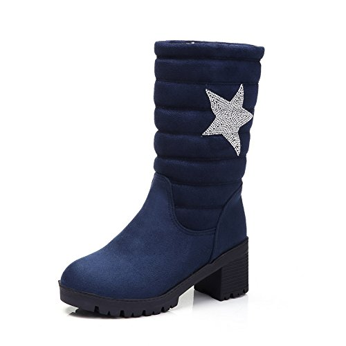 Allhqfashion Dames Low-top Solide Pull-on Ronde Gesloten Neus Katoenen Hakken Laarzen Blauw