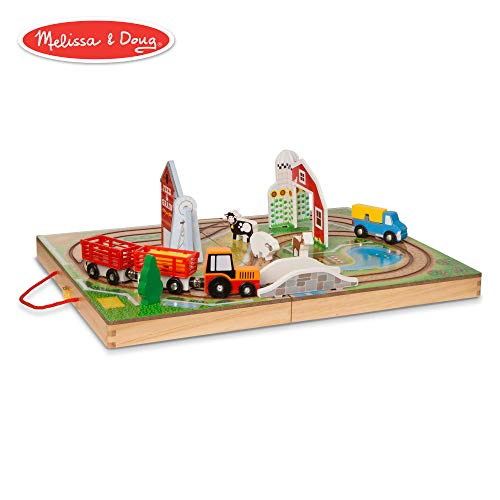 Melissa & Doug Take-Along Town (Wooden Portable Play Surface, 17 Pieces) -