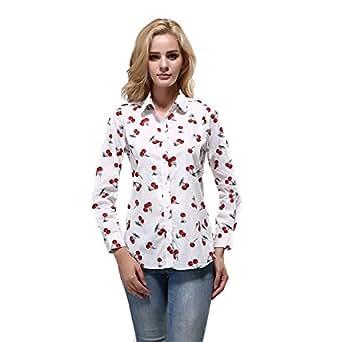 06e63b27b2 LIENAHU Large Size Printed Shirts Women s Tops Long-Sleeved Cotton Shirts  Women s Bottoming Shirts Casual