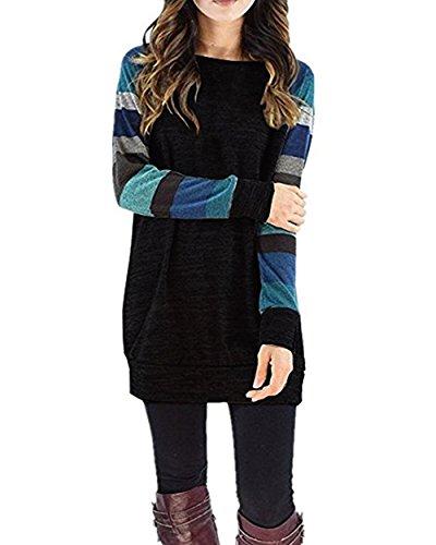 HARHAY Women's Cotton Knitted Long Sleeve Lightweight Tunic Sweatshirt Tops Black & Blue M (Tunic Sweater Long Sleeve)