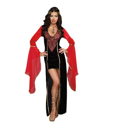 Dreamgirl Women's Medieval Maiden Costume, Black, Large