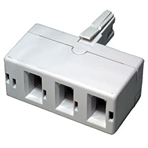 World of Data - 3 Way BT Telephone Socket Splitter - Triple - 3 (Sockets) into 1 (Plug) - White - Phone - Fax - Modem - Answer Machine by World of Data