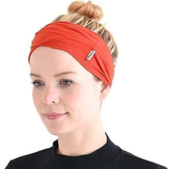 Casualbox Mens Elastic Bandana Womens Headband Japanese Long Hair Dreads Head Wrap Yoga Sports Crossfit Vivid Orange