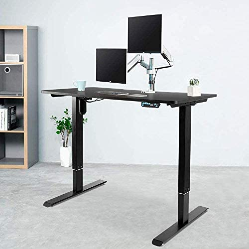 Electric Adjustable Standing Desk Frame - Stand up Desk Frame with Height and Width Adjustable Desk Sit Stand Desk Base Workstation Single Motor Memory Preset Controller Home Office Desks Black