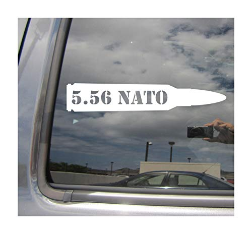 556NATO - 5.56 NATO Bullet Round - Soldier Sniper Reserves Army Marines Navy Military - Cars Trucks Moped Helmet Hard Hat Auto Automotive Craft Laptop Vinyl Decal Store Window Wall Sticker 09006 ()