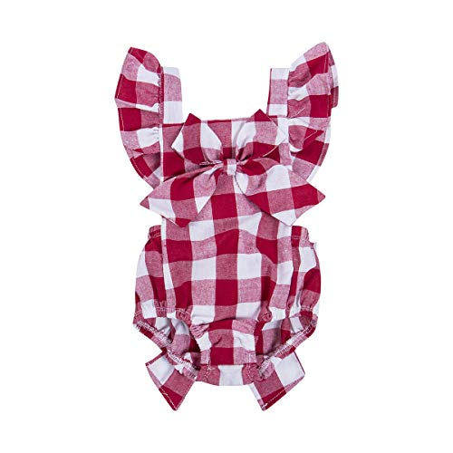 (Newborn Infant Baby Girls Clothes Plaids Checks Romper Jumpsuit Bodysuit Outfits (6-12 Months, Red))