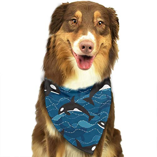 OURFASHION Deep Sea Orcas Bandana Pet Scarf Washable Adjustable Triangle Bow Tiess for Pet Dog and Cats -
