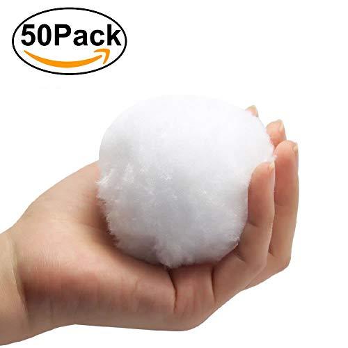 Jiekaui 50 pcs Fake Snowball - Indoor Snowball Fight Anytime - Family Snowtime - Party Snow Fight Games Any Season - Safe, No Mess, No Slush, No Fur Loss