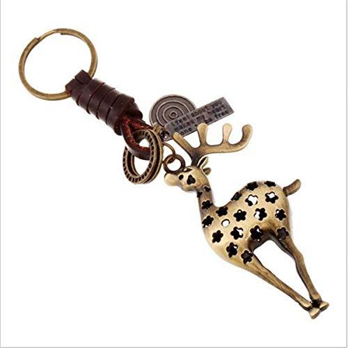 (1 Set PU Leather Deer Keychain Souvenir Pendant Teen Fur Rabbit Utility Tool Key Ring Zenith Popular Pocket Bag Car Keyrings)