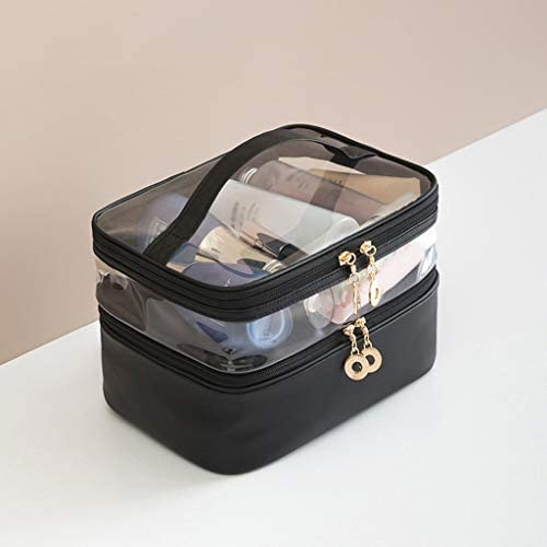 化粧品収納ボックス 多層大容量化粧品収納ボックス透明なポータブルスキンケアブラシ収納ボックスプラスチック素材 GHMOZ (Color : Black)