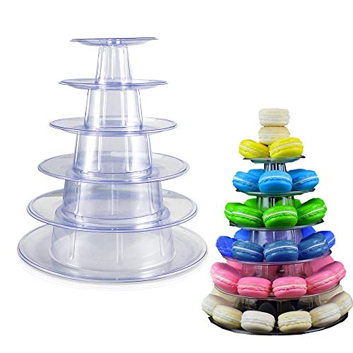 Macaron Cupcake Stand, 6 Tier Cupcake Tower Holder Tiered Serving Stand Cupcake Tower Wedding Display Stand Clear Cupcake Dessert Stands for Wedding Birthday Party Decor