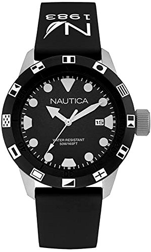 - Nautica nsr-100 Flag Mens Analog Quartz Watch with Rubber Bracelet NAI09509G