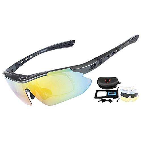 Professional Cycling Eyewear UV400 Polarized Cycling Glasses Bike Bicycle Glasses Sunglasses Goggles 5 Lens,Gray ()