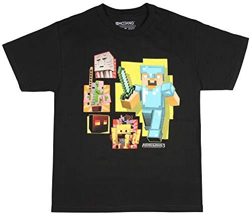 Minecraft Shirt Boys' Diamond Steve Ghast Blaze Zombie Pigman Magma Cube Character T-Shirt (MD, 10/12) Black -