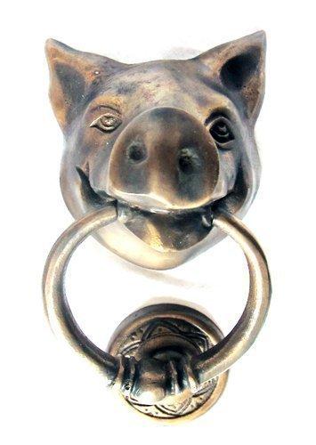 PIG SHAPED SOLID BRASS DOOR KNOCKER 9 Cm Wide, 10 Cm Tall, Knocker Ring