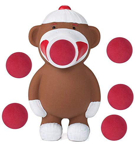 Hog Wild Sock Monkey Popper Toy - Shoot Foam Balls Up to 20 Feet - 6 Balls Included - Age -