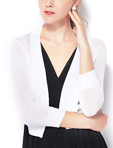 Chic Queen Women's Jersey Knit Open Front Bolero Shrug Long Sleeve Cardigan (M/IV)