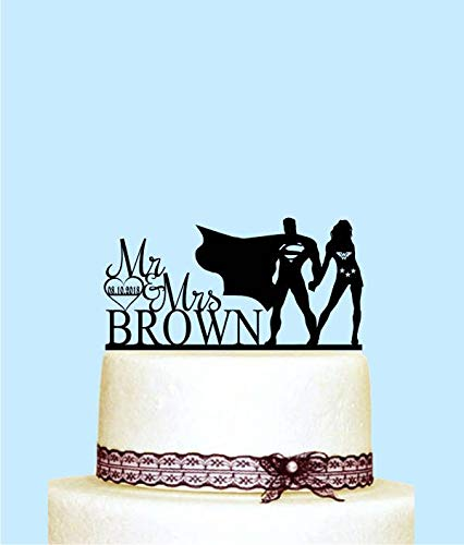 Wonder Woman And Superman Cake Topper, Customized Wedding Cake Topper Superhero Personalized Wedding Cake Topper, Monogram Cake Topper ()