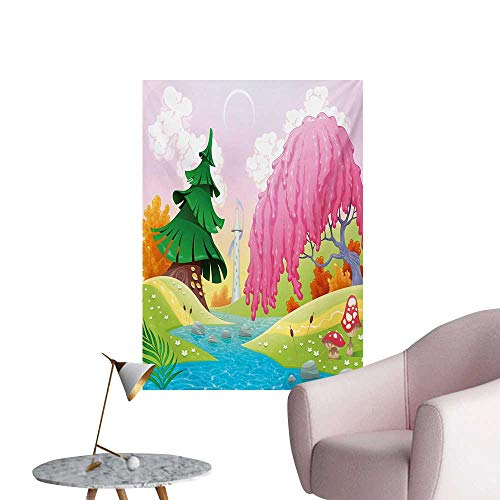Anzhutwelve Cartoon Wallpaper Fantasy Landscape with Unusual Trees Riverside Drawing Spring Summer Season PrintMulticolor W24 xL36 Custom Poster