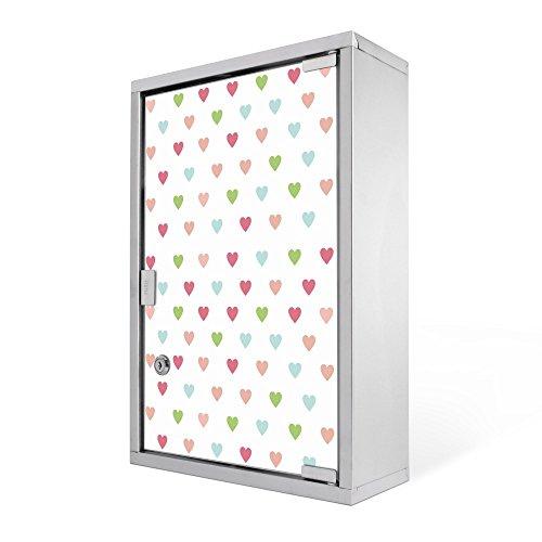 banjado - Edelstahl Medizin Schrank 30x45x12cm Erste Hilfe Apothekerschrank Wandschrank mit Motiv Herzen Auf Weiß