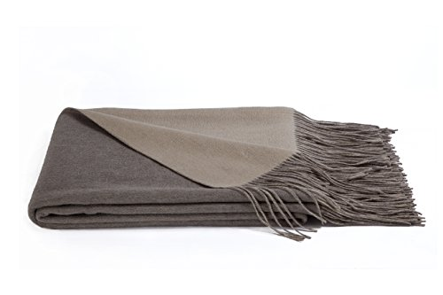 a & R Cashmere R100SND.Oat. Cashmere & Wool Blend Reversible Throw, - Blend Sand Wool