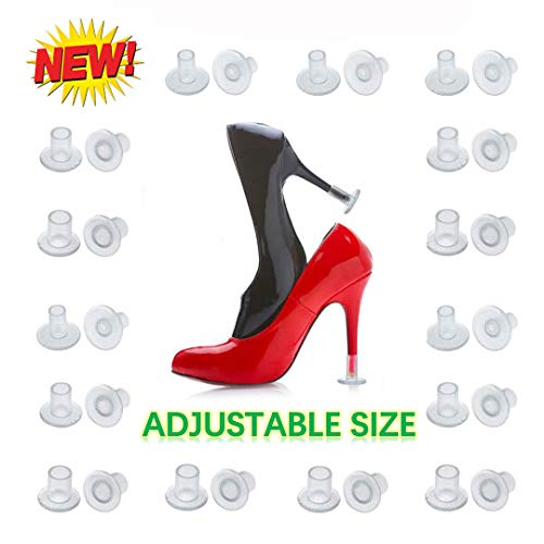 [2019 New] High Heel Protectors Adjustable size 24 Pairs Heel Stoppers for Walking on Grass Wedding Outdoor Events Womens Shoes Guards Heel Covers Small/ Middle/ Large Size Clear