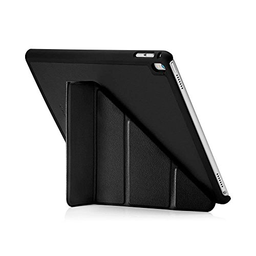 Pipetto Case for iPad Pro 9.7, Origami Smart Case with 5 in 1 Folding Positions & Auto Sleep/Wake Function, Compatible with Apple iPad Pro 9.7 - Black Lambskin