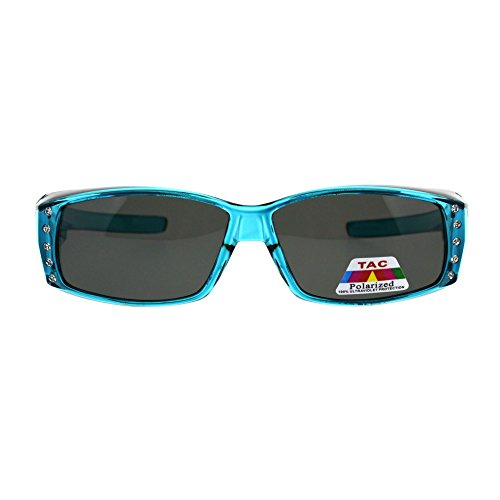 Womens Rhinestone Rectangular Polarized Fit Over Glasses Sunglasses (Teal Black, 57)]()