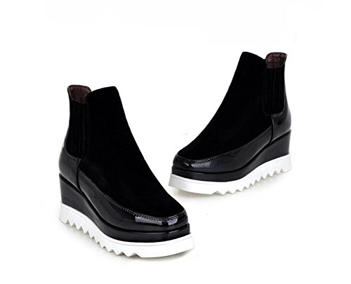 NVXIE Women Ankle Boots Martin Shoes Fall Winter Black Flats Scrub Thick Bottom Wedges Square Head BLACK-EUR35UK3 Cxh5R4Rgjp