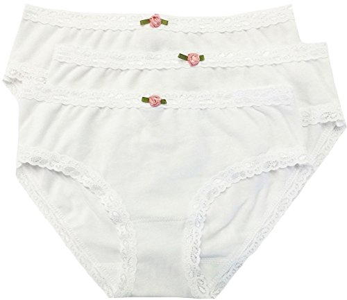 Girls Bikini Briefs (Esme Girl's Panty-PT 14-16- All White,Bikini 3 Pack)