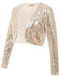 Women's Open Front Sequin Long Sleeve Jacket