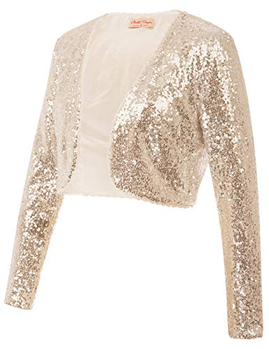 (Elegant 1920's Bridal Bolero Jacket Clubbing Wear(M,Gold))