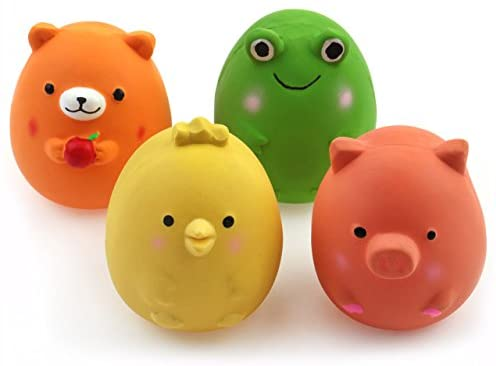 """Chiwava 4PCS 2.4"""" Squeak Latex Puppy Toy Funny Animal Sets Pet Interactive Play for Small Dog Assorted Color"""