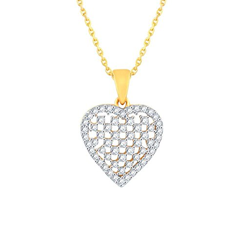 Giantti 14carats Diamant pour femme Collier Pendentif cœur (0.4855CT, VS/Si-clarity, Gh-colour)