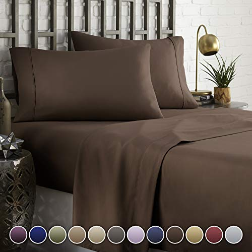 HC COLLECTION Hotel Luxury Comfort Bed Sheets Set, 1800 Series Bedding Set, Deep Pockets, Wrinkle & Fade Resistant, Hypoallergenic Sheet & Pillow Case Set(Queen, Brown) (Sheets Brown Silk)