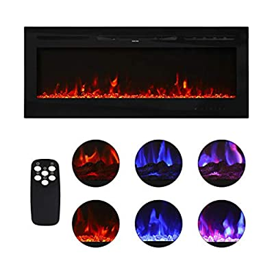 "Kinbor 36"" Electric Wall Mounted Fireplace Heater Realistic 3-Color Lighting Flame, 1500/750W, Remote Control with Timer, Black"