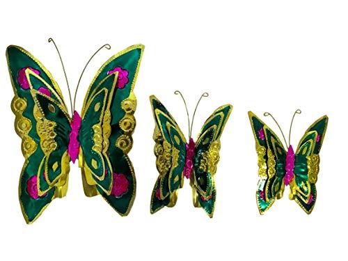 (Casa Fiesta Designs Decorative Tin Butterfly Set - Colorful Set of 3 Garden and Wall Decor Butterflies - Handmade and Hand Painted in Mexico - Set de 3 Mariposas Decorativas)
