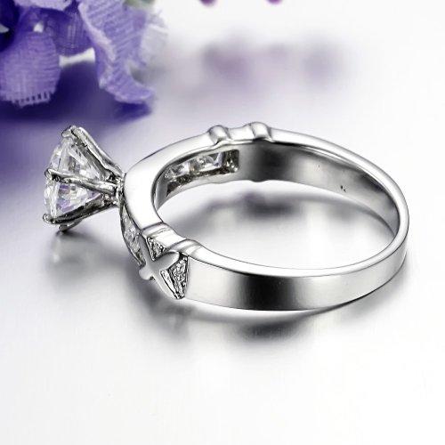 JewelryWe Bijoux Bague Femme Oxyde de Zirconium Mariage Acier Inoxydable Anneaux Fantaisie Couleur Argent Largeur 5mm Avec Sac Cadeau(Taille de Bague 51.5)