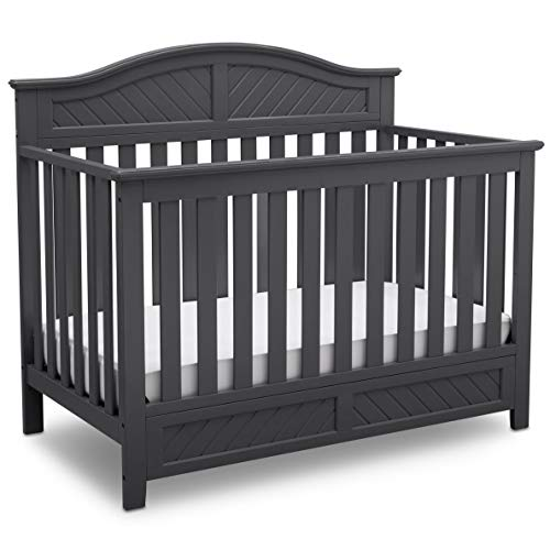 Delta Children 550150-029 Bennington Elite Curved 4-in-1 Convertible Crib, Charcoal Grey