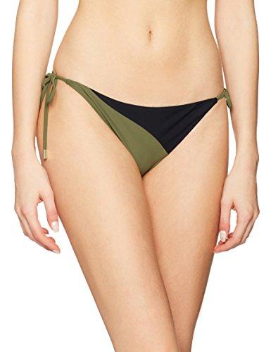 Calvin Klein Cheeky String Side Tie, Braguita de Bikini para Mujer Multicolor (Black/military Green 045)