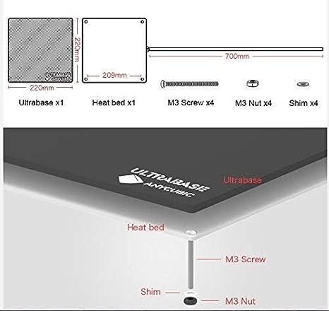 Piattaforme di Stampanti 3D Ultrabase ANYCUBIC Letto Riscaldato con Rivestimento Microporoso Piastra di Vetro Superficie di Costruzione 240 x 220mm Compatibile con Mega S MK3 Prusa i3
