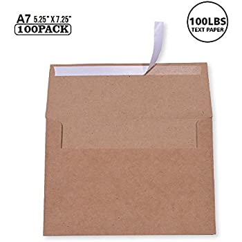 Amazon a7 invitation envelopes 5 x 7 grocery bag brown 100 pack size a7 100lbs brown kraft paper invitation 5 x 7 envelopes for 5x7 cards self seal perfect for weddings invitations baby shower stopboris Image collections
