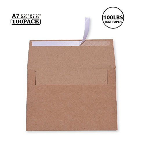 100 Pack, Size A7 , 100lbs Brown Kraft Paper Invitation 5 x 7 Envelopes - For 5x7 Cards| Self Seal| Perfect for Weddings, Invitations, Baby Shower| Stationery For General, Office | 5.25 x 7.25 Inches