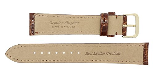 20mm Cognac Genuine Alligator - Padded Stitched – Glazed Shiny Smaller Tile – Watch Strap Band - Gold & Silver Buckles Included – Factory Direct - Made in The USA by Real Leather Creations FBA362 by Real Leather Creations (Image #3)