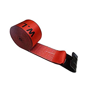 "Mega Cargo Control 4"" x 30' Winch Strap with Flat Hook Flatbed, Truck, Farm, Construction Heavy Duty (Red): Automotive"
