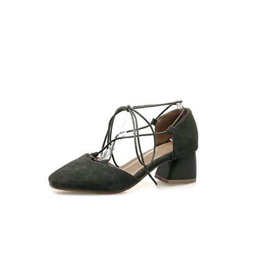 Peu Taille Chaussures Armygreen Romain de Sandales Cheville des Fait épais Femmes Grande avec Profonde Sangles Bouche de tSpRFq