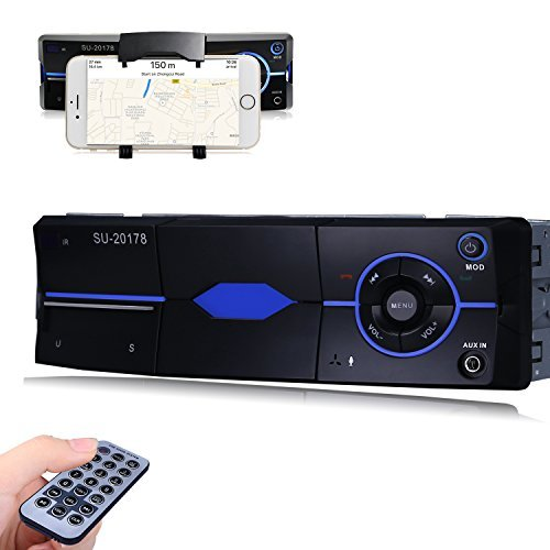 Favoto Car Stereo Receiver Bluetooth In-dash Head Unit Single Din with Smartphone Holder Car Audio Digital Media Receivers Wireless Remote